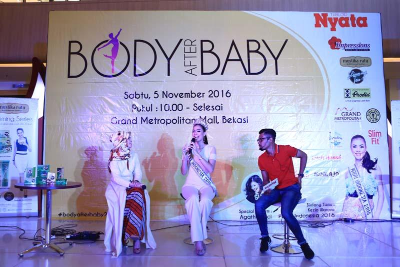 Kezia saat mengisi talkshow, event Body After Baby yang diadakan oleh Tabloid Nyata. Foto: Reza / Tabloid Nyata
