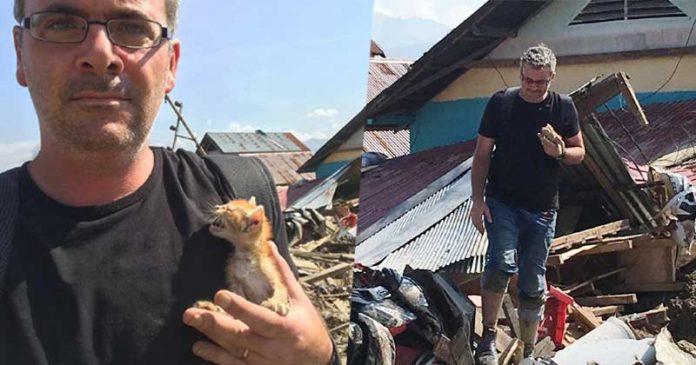 pahlawan-gempa-palu-selamatkan kucing james massola