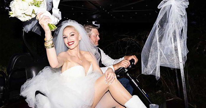 gaun pernikahan gwen stefani 1